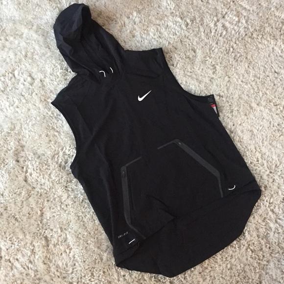 Nike Hoodie Vest Running Dri Fit 845839-010 NWT